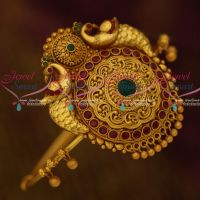 AraVanki Single Piece Traditional Jewellery Matte Antique Reddish Gold Plated Peacock