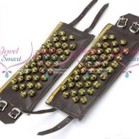 Leather 5 Lines Bharatanatyam Indian Classical Dance Brass Salangai Adjustable Buckle