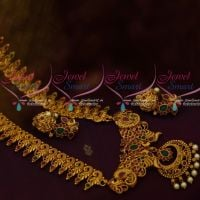 Matte Gold Plated Peacock Traditional Design South Indian Haram Designs Jewellery Shop Online