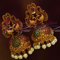 Peacock Design Reddish Antique Matte Red Green Stones Pearl Drops Jhumka Earrings Online