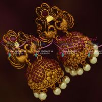 Peacock Design Reddish Antique Matte Red Stones Pearl Drops Jhumka Earrings Online
