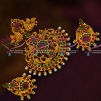 Multi Colour Stones Nakshi Peacock Matte Gold Antique Pendant Earrings Set Latest Jewellery Online