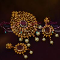 AD Antique Matte Gold Fusion Pendant Set Ruby White Latest Fashion Jewellery Designs Online