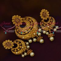 AD Antique Matte Ruby White Nakshi Gold Finish Pendant Earrings Latest Jewellery Online