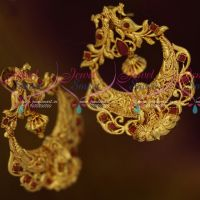 Gheru Reddish Gold Plated Chand Bali Design Temple Peacock Big Earrings Shop Online