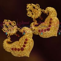 Gheru Reddish Gold Plated Temple Laxmi God Design Big Earrings Shop Online