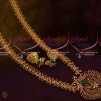 Ruby Emerald grand Look Peacock Pendant Jhumka Gold Plated Fashion Jewellery Delicate New Design Shop Online
