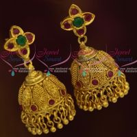 Antique South Indian Jhumka Earrings Screwback Floral Design Collections Online