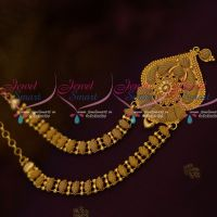 South Indian Gold Covering Jewellery Fancy Design Short Necklace Daily Wear Collections