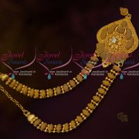 South Indian Gold Covering Jewellery Fancy Single White Stones Short Necklace Daily Wear Collections