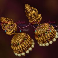 Temple Laxmi God Design Multi Colour Stones Nagas  Jhumkas Shop Online Traditional Jewellery