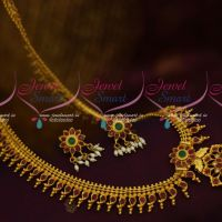 Ruby Stones Mango Long Chain Gold Look One Gram South Jewellery Design Long Necklace Online