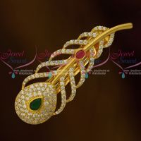 Ruby Emerald White AD Leaf Design Hair Clip Latest Fashion Jewellery Online