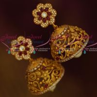 Floral Design Matte Gold Ruby White Designer Jewellery Latest Jhumka Earrings Shop Online