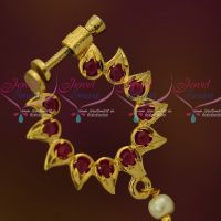 Ruby Stones Screw Lock Nose Pins Non Piercing Type Latest Fashion Jewellery