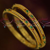 2 Pcs Set Bangles Ruby Emerald  AD Stones Imitation Gold Plated Jewellery Shop Online