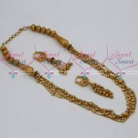 Fancy Beads Chain Multi Strand Fashion Jewellery Matte Reddish Gold Plated Jewellery Online