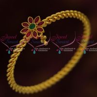 Twisted Design Kemp Stones Single Bangle Daily Wear Fashion Jewellery South Indian Online