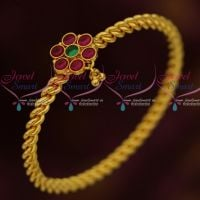 Spiral Design Round Kemp Stones Single Bangle Daily Wear Fashion Jewellery South Indian Online
