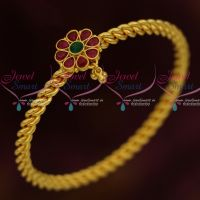 Daily Wear Fashion Jewellery Spiral Design Pear Kemp Stones Single Bangle South Indian Online
