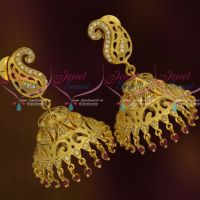 Forming Light Gold Matte Mango Ruby Drops Jhumka Earrings Real Look Imitation Jewellery Designs Online