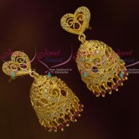 Heart Shaped Tops Light Matte Gold Jhumka AD Fashion Jewellery Real Look Designs Shop Online