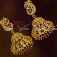 Peacock Shaped Tops Light Matte Gold Jhumka AD Fashion Jewellery Real Look Designs Shop Online