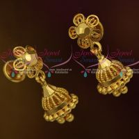 Mini Size Jhumka Screwback Lock Plain Gold Casting Design Jewellery Daily Wear