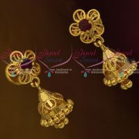 Daily Wear Jewellery Mini Size South Indian Jhumka Screwback Lock Plain Gold Casting Design
