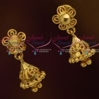 Daily Wear Jewellery Mini Size Jhumka Screwback Latest Plain Gold Casting Floral Design