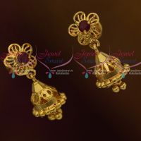 Daily Wear Gold Covering Jewellery Mini Size Jhumka Screwback Lock Plain Gold Casting Design
