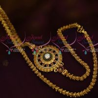 South Indian Fashion 24 Inches Fancy Chain AD Ruby White Mugappu Daily Use Jewellery Online