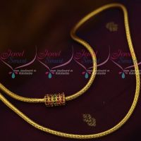 Smooth Roll Kodi Chain Ruby Emerald Mugappu 3 MM 24 Inches Gold Plated Jewellery Designs Online