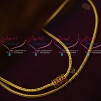 Smooth Roll Kodi Chain Ruby Mugappu 3 MM 24 Inches Gold Plated Jewellery Designs Online