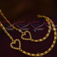 Double Side Heart Mugappu Thin Flat Gold Plated Chain Flexible Design Collections Online