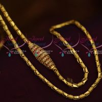 Thick 4 MM Ruby White Mugappu Chain Gold Plated Jewellery 24 Inches