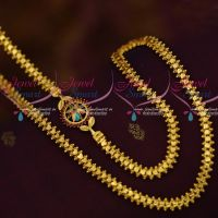 AD Ruby Emerald Stones Small Mugappu 24 Inches Fancy Chain Collections Online