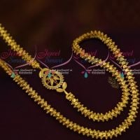 AD Ruby White Stones Small Mugappu 24 Inches Fancy Chain Collections Online
