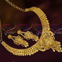 Latest South Indian Fashion Jewellery Short Necklace Forming Light Gold Matte Collections 100 Mg
