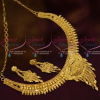 Forming 100 Mg Casting Design Short Necklace South Indian Traditional Imitation Plain Gold Jewellery Online