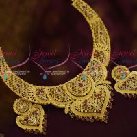 Big Broad AD Ruby White Matte Gold Real Look Exclusive One Gram Jewellery Collections Shop Online