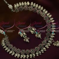 Antique Silver Plated Mango AD Short Necklace Latest Trendy Jewellery Collections Online