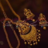 Matte Gold Plated Temple Jewellery Chain Pendant Latest Antique Jewellery Designs Online
