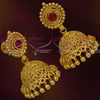 Kemp Stone Fancy Gold Covering Jhumka Earrings Latest South Indian Fashion Jewellery Online