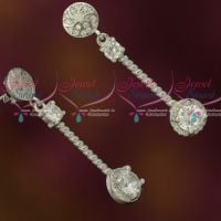 Silver 92.5 Jewellery CZ Sparkling Stones Thin Long Round Drops Design Shop Online