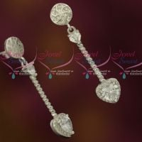 Silver 92.5 Jewellery CZ Sparkling Stones Thin Long Heart Shape Drops Design Shop Online