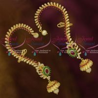 AD Ruby Green White Long Bluetooth Fashion Jhumka Earrings Clip Support Shop Online
