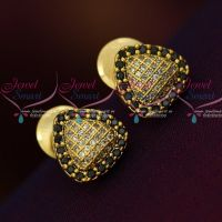Triangle Shape Small Size AD Black White Ear Studs Sparkling Stone Collections Online