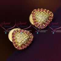 AD Ruby WhiteTriangle Shape Small Size Ear Studs Sparkling Stone Collections Online