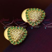 AD Emerald Green White Triangle Shape Small Size Ear Studs Sparkling Stone Collections Online